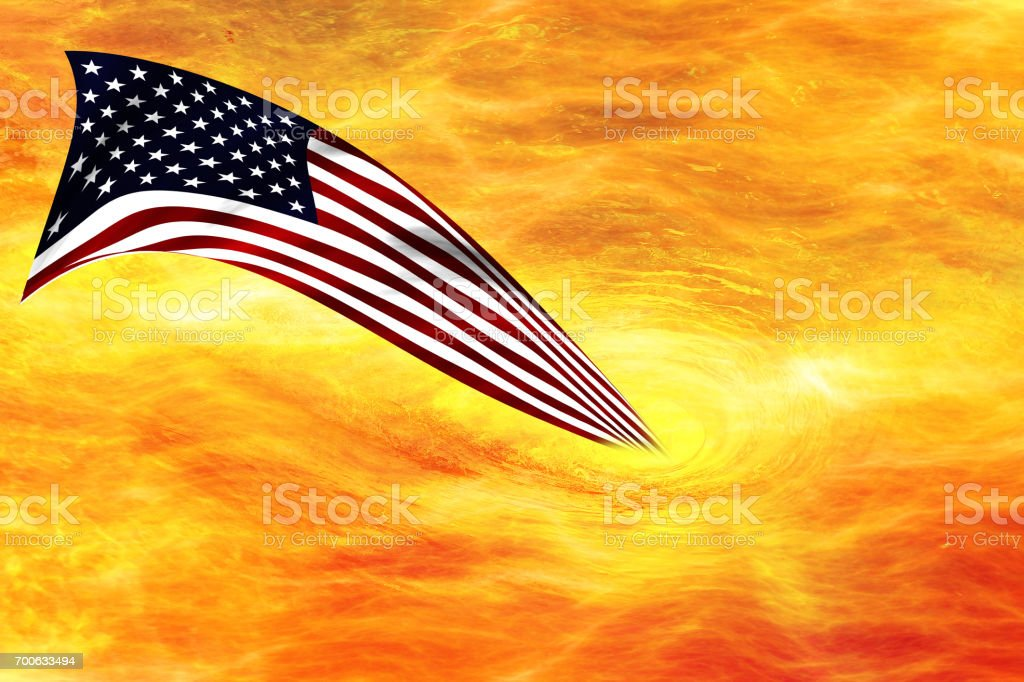 Fire circles or swirls with USA flag stock photo