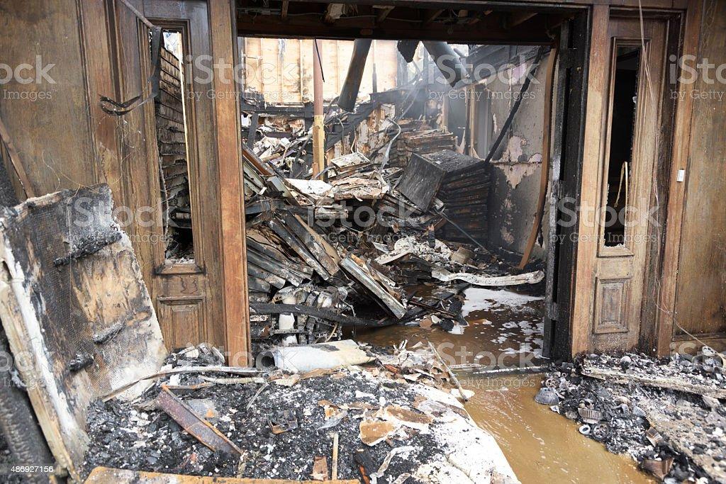 Fire damage, destruction stock photo