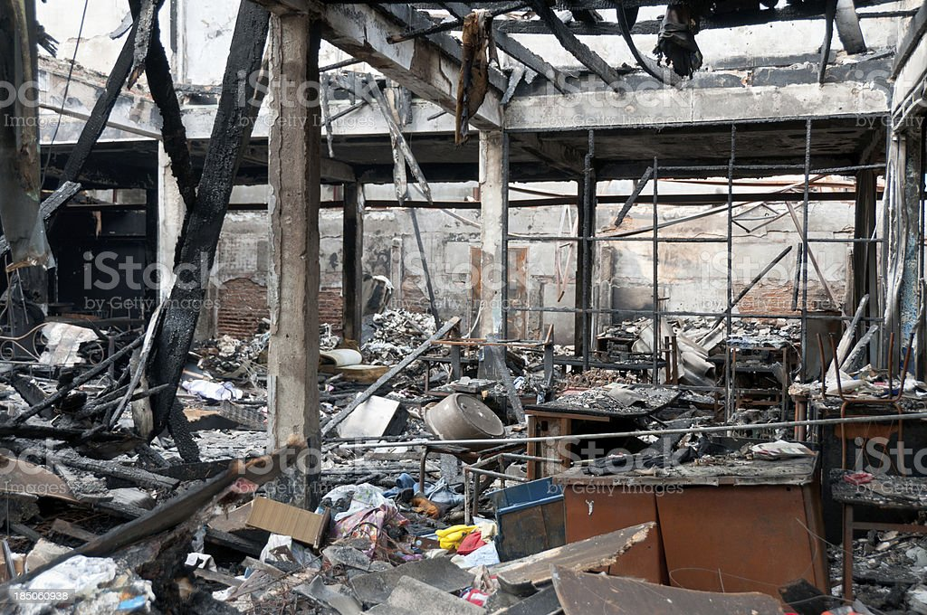 Fire Damage In A Burnt Out Building stock photo