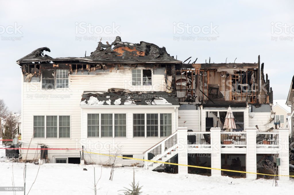 Fire damage of a large hosue royalty-free stock photo