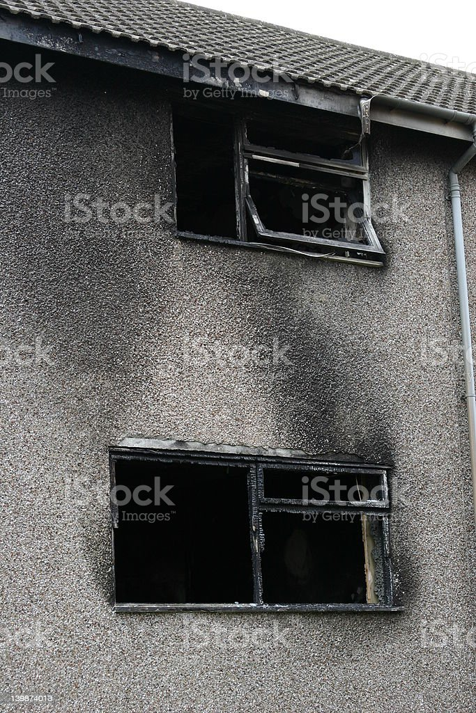 Fire Damaged Building stock photo