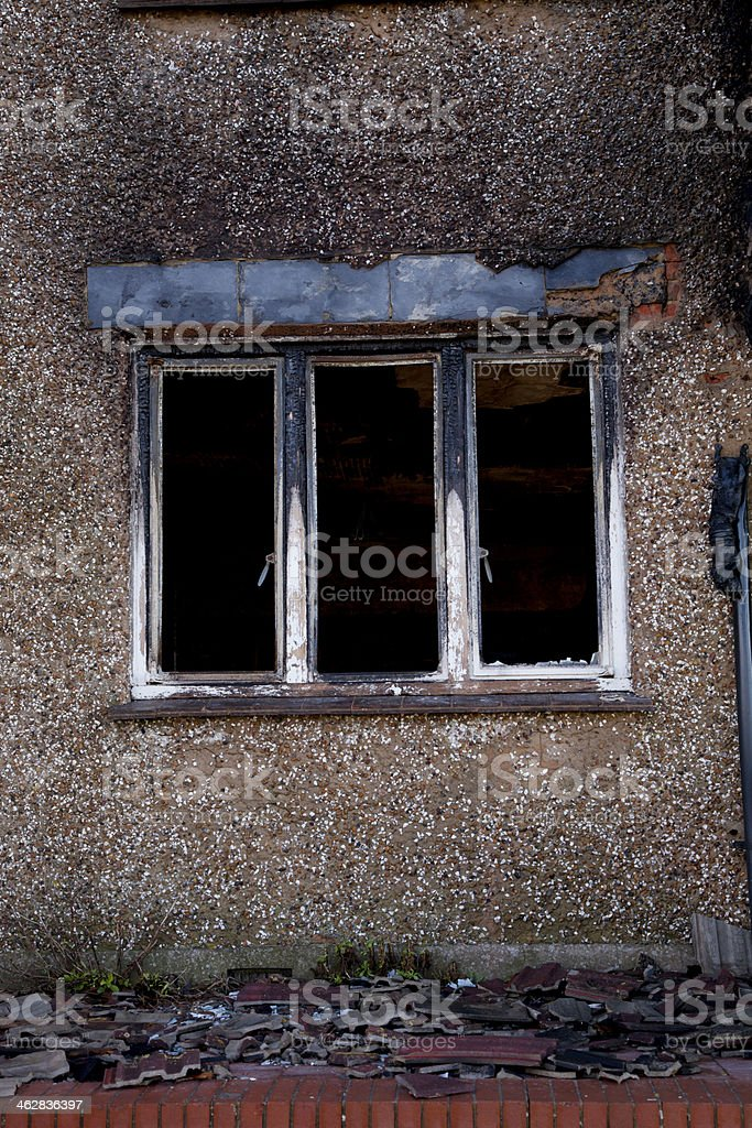 Fire damaged house stock photo