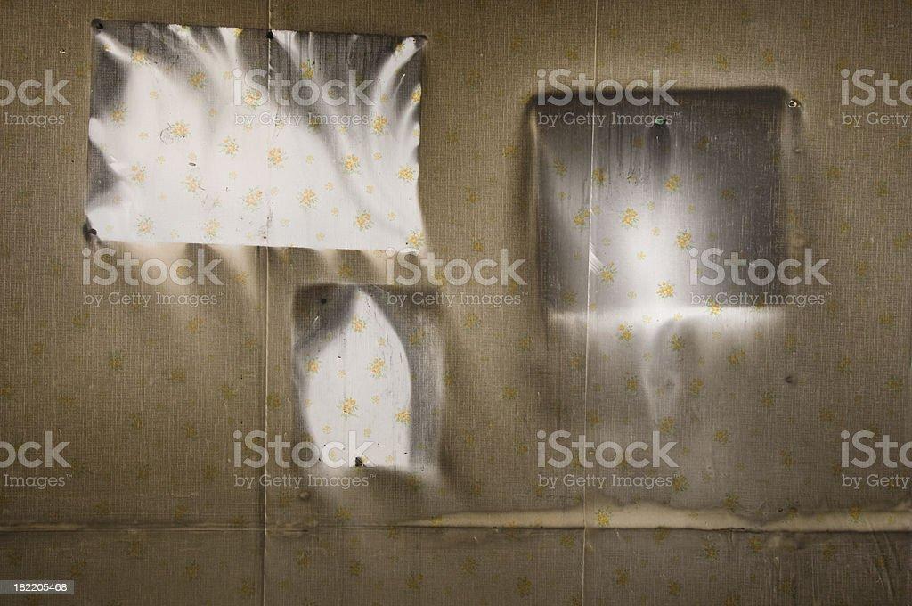 Fire damaged wall stock photo