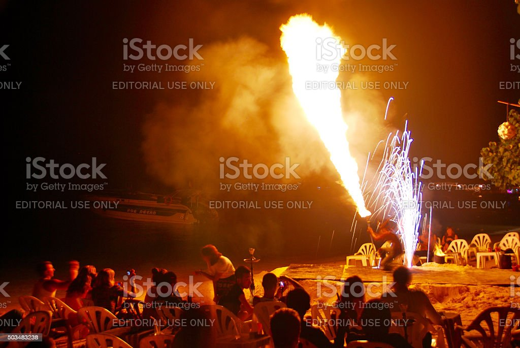 Fire Dance - Firestarter performing amazing fire show stock photo