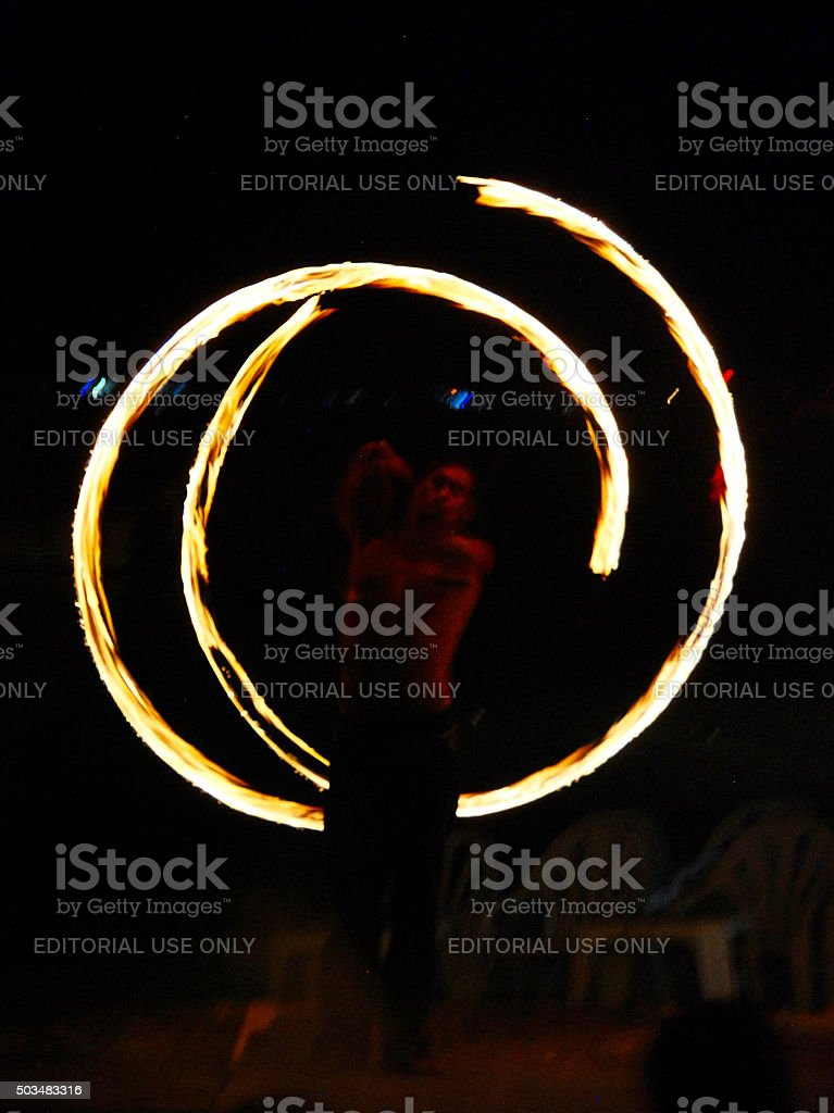 Fire Dance - Firestarter performing amazing fire show stock photo