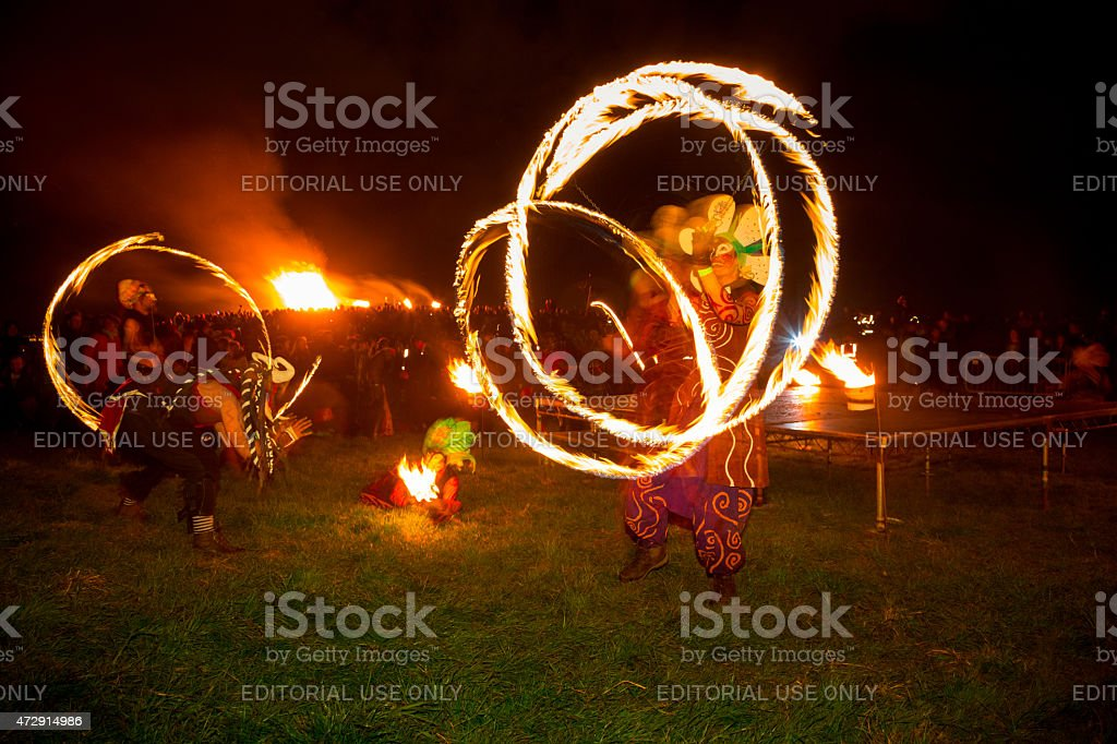 Fire Dancers at the Beltane Fire Festival, Edinburgh stock photo