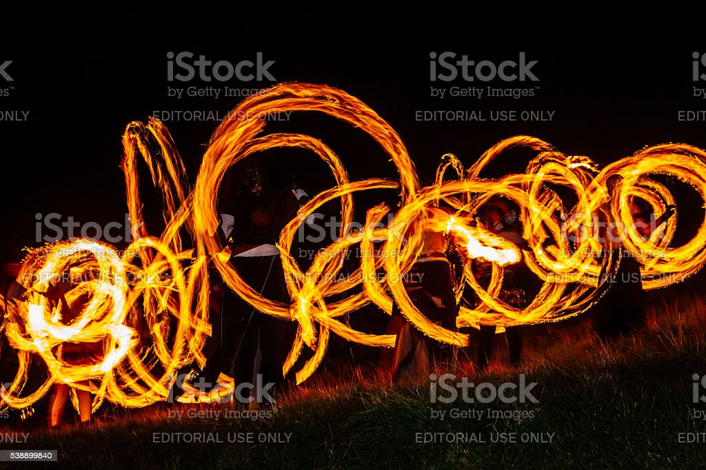 Fire Dancers at the Beltane Fire Festival, Edinburgh stock photo