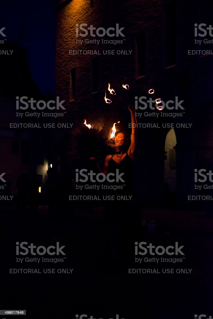 Fire dancing in Tallinn, Estonia stock photo