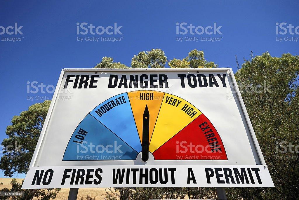 Fire Danger Sign stock photo