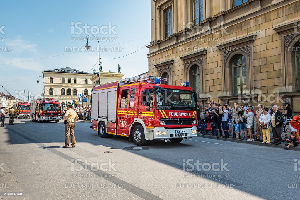Fire Day Parade - Odeonsplatz - Munich, Germany stock photo