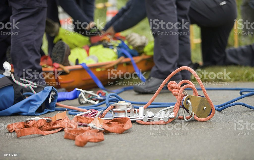 Fire Department Rescue Equipment and Victim stock photo