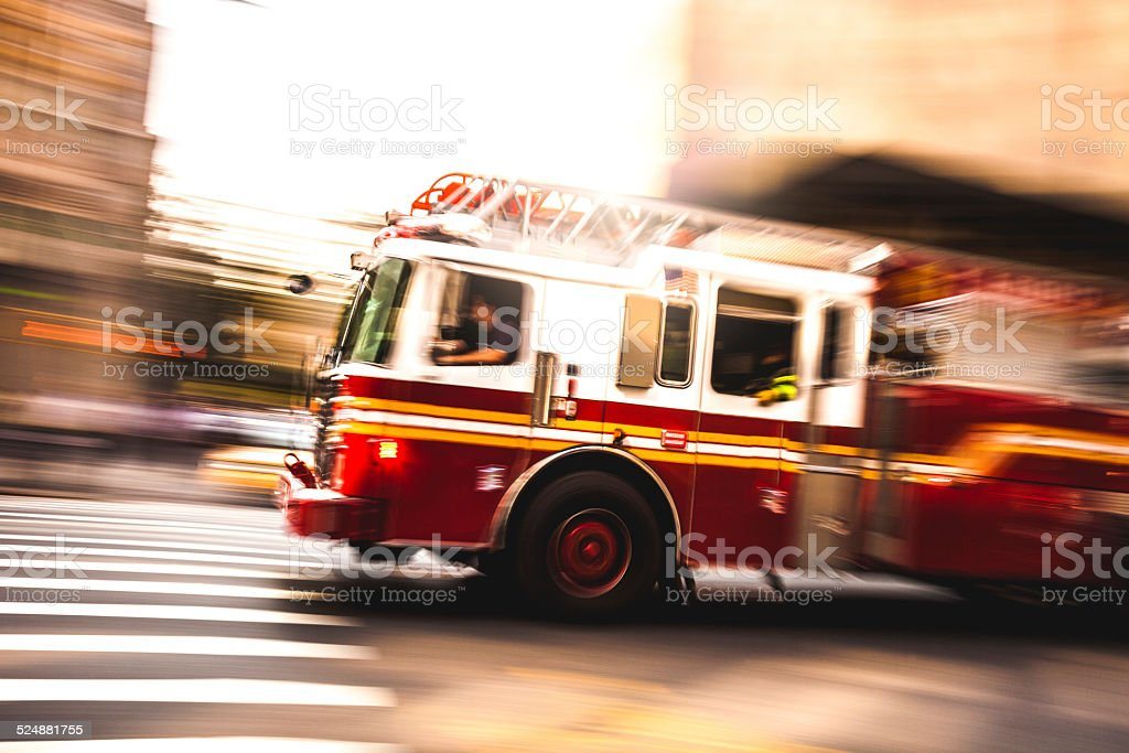 Fire department truck in emergency stock photo