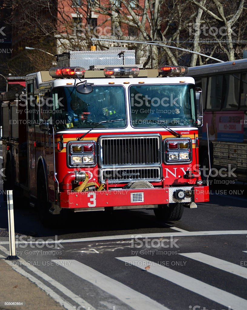 NYFD fire department truck in new york stock photo