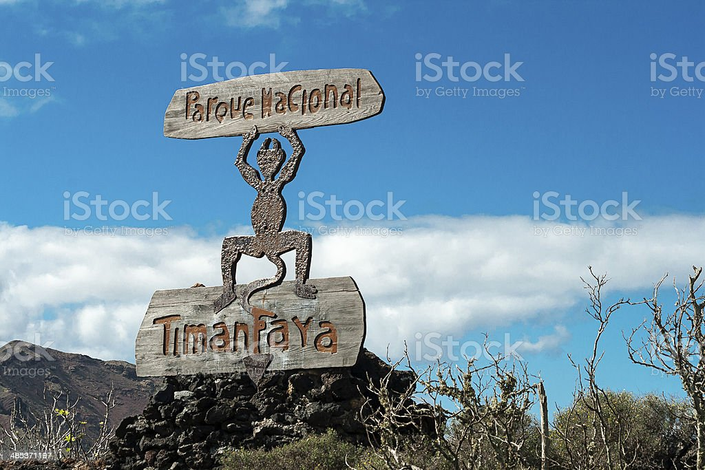 Fire Devil Sign, Timanfaya National Park stock photo