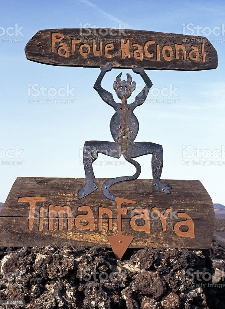 Fire Devil statue, Lanzarote. stock photo