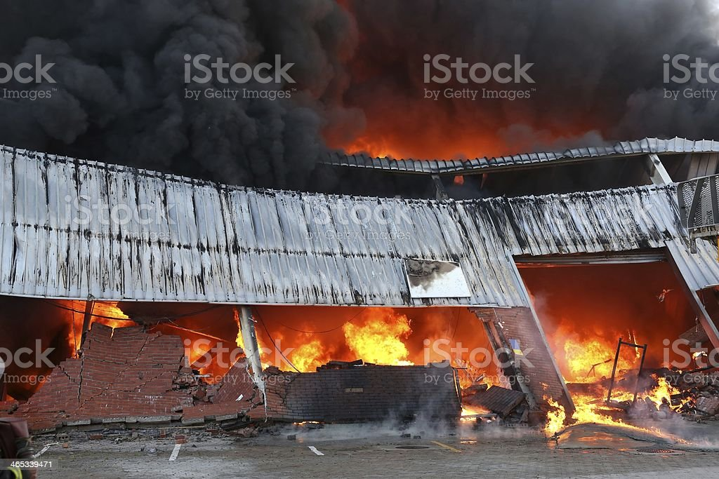 Fire Disaster in Warehouse stock photo