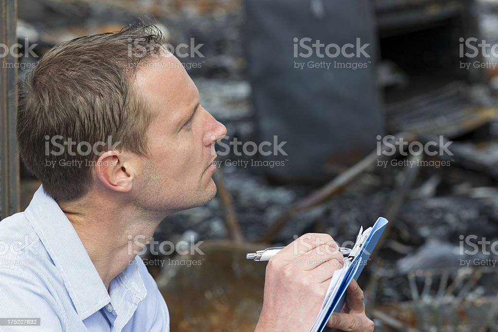 Fire distroyed a building royalty-free stock photo