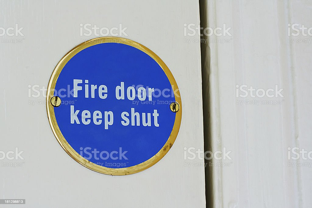 fire door keep shut sign stock photo