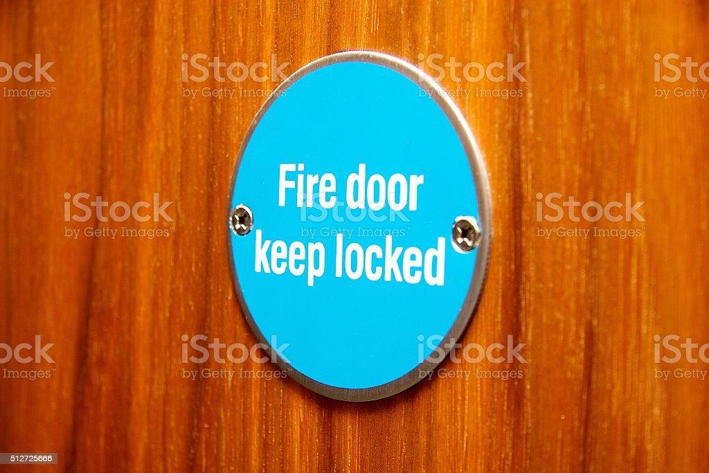 Fire Door Sign stock photo