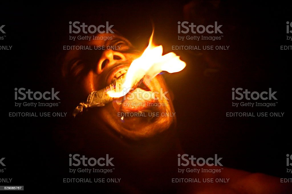 Fire eater stock photo