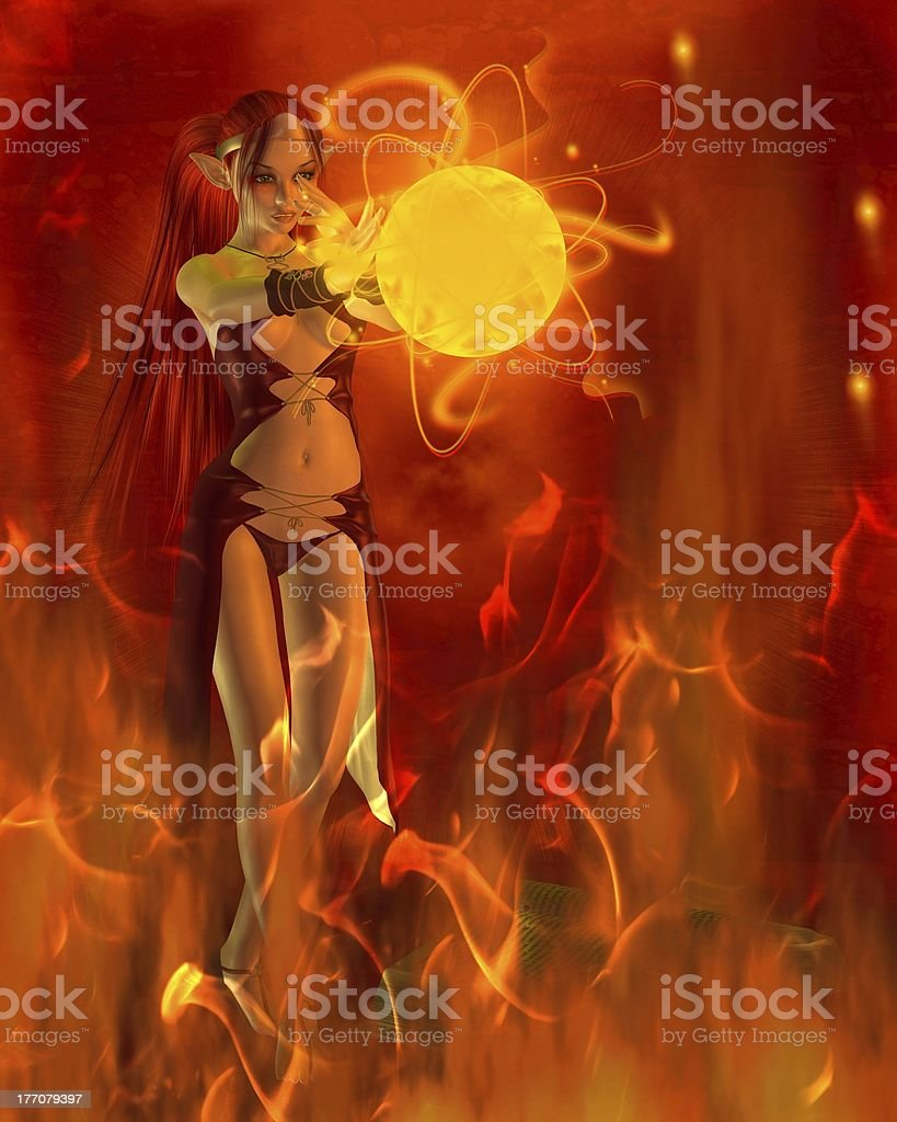 Fire Elf Practising a Flame Spell royalty-free stock photo