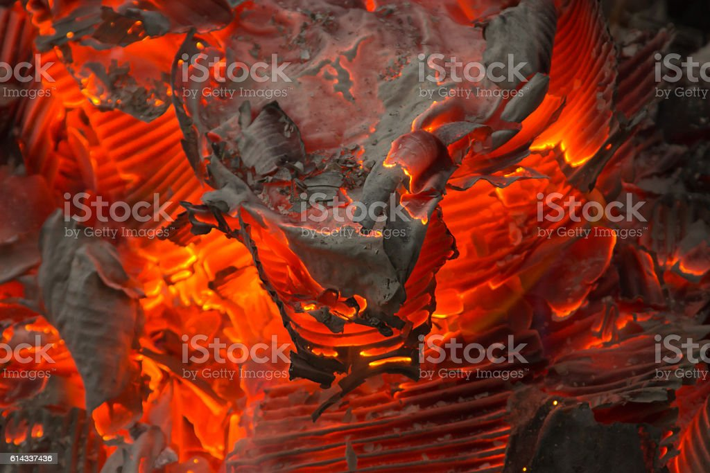 Fire embers with the ashes stock photo