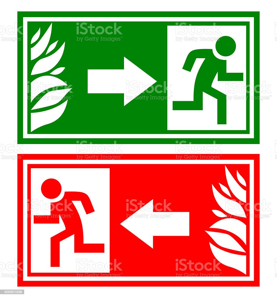 Fire emergency exit sign stock photo