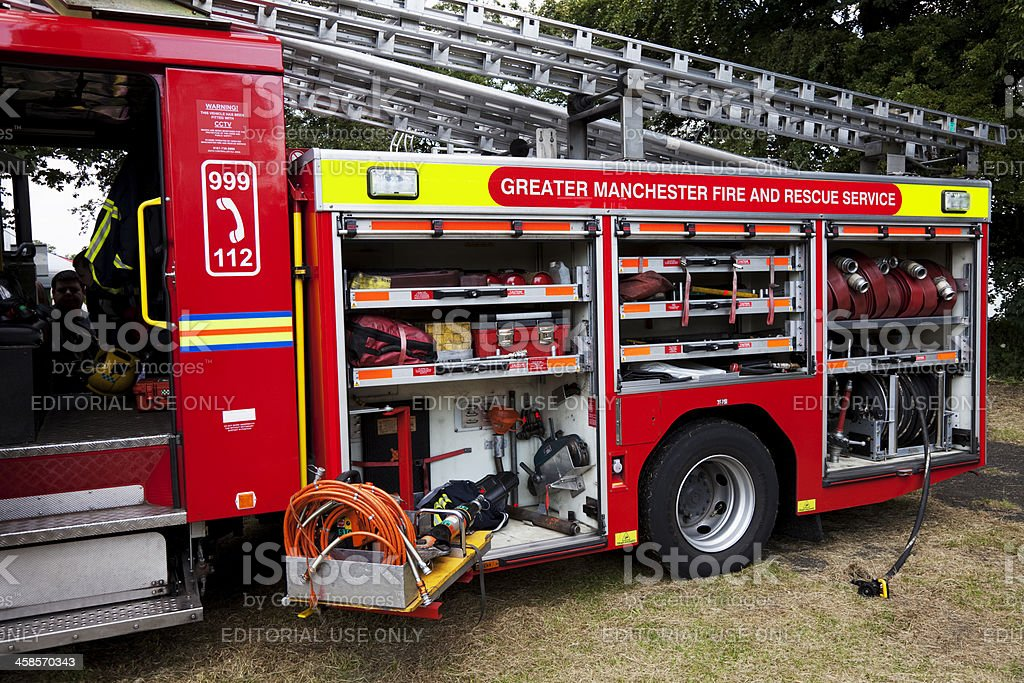 Fire engine displaying equipment royalty-free stock photo