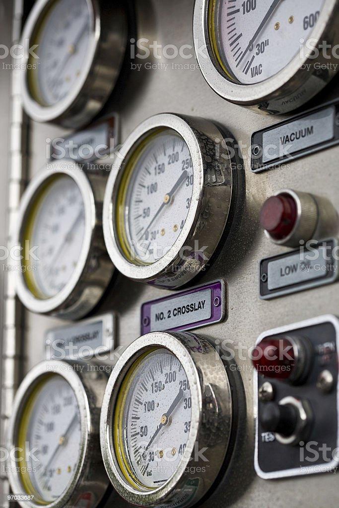 Fire engine gauges stock photo