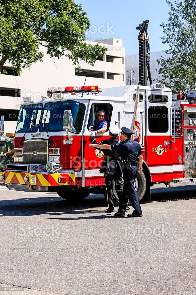 Fire engine in downtown Sarasota stock photo