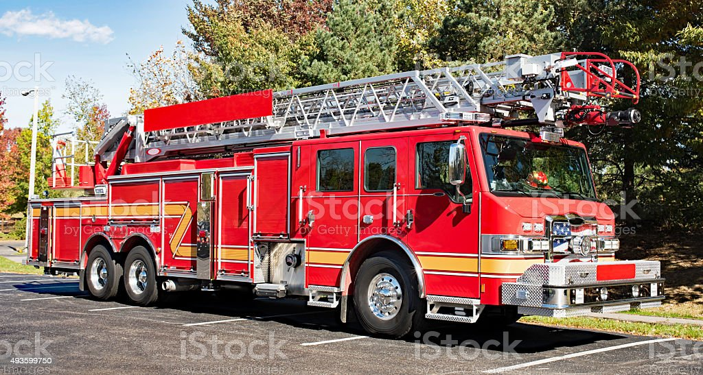 Fire Engine in Park stock photo