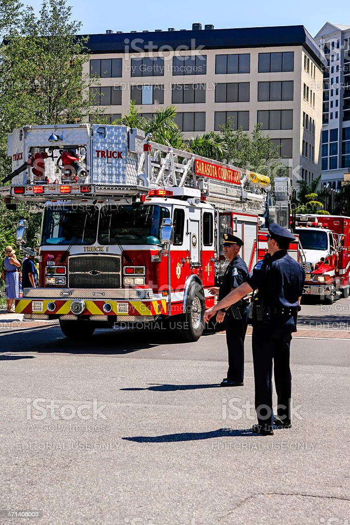 Fire engine in Sarasota stock photo
