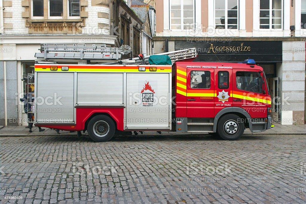 Fire Engine In Truro Cornwall UK stock photo