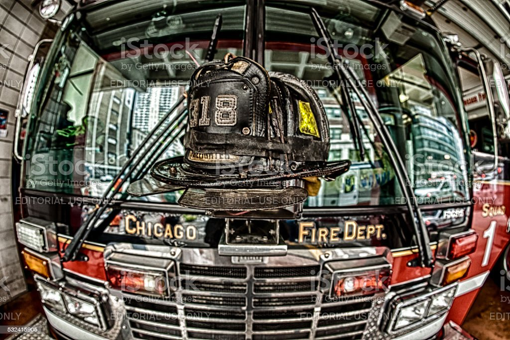 Fire Engine & Leather Helmet stock photo