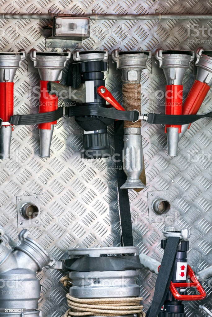 fire engine on standby with equipment stock photo