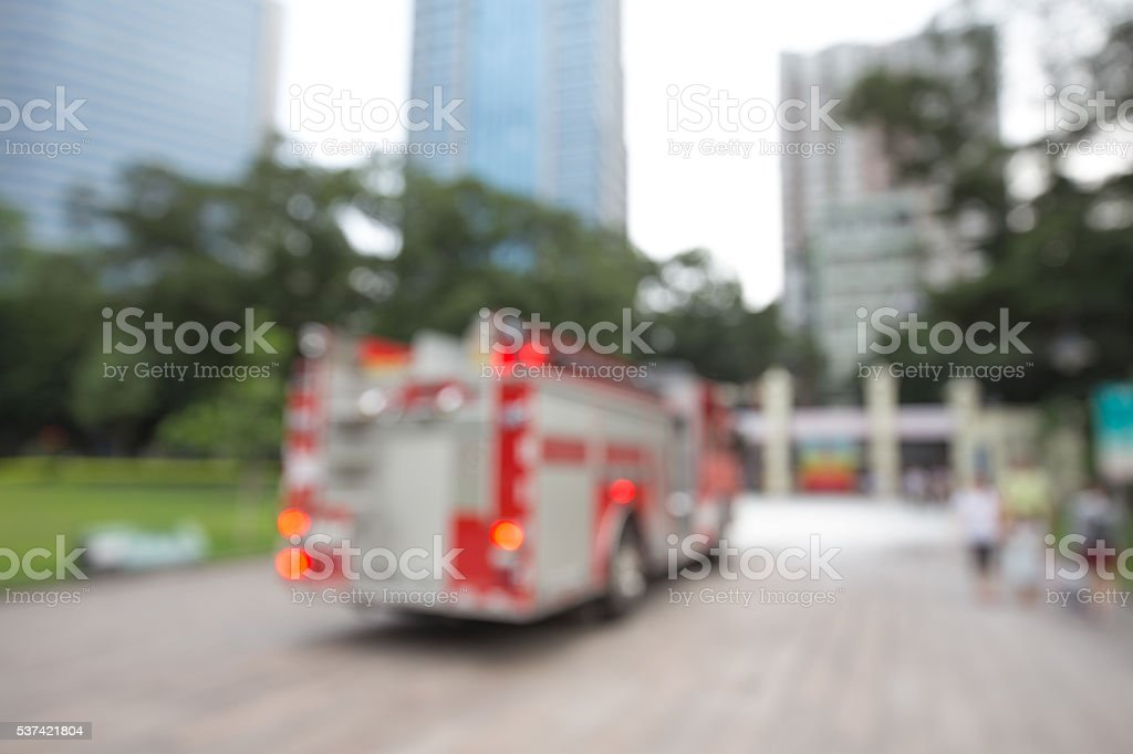 Fire engine on the road stock photo