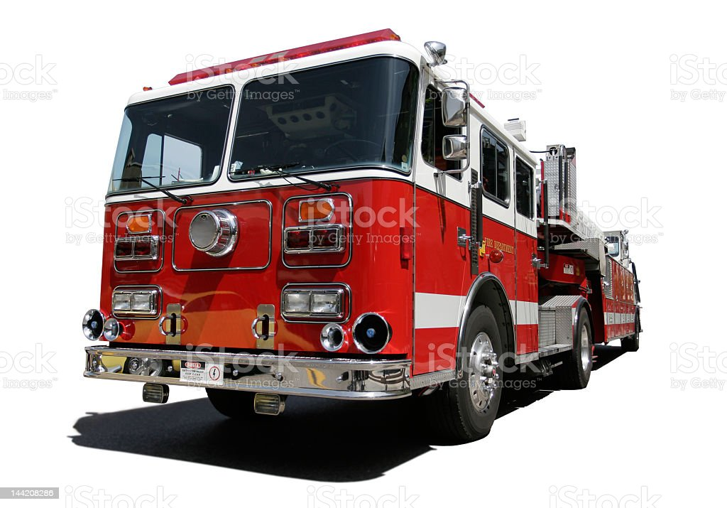 Fire engine rig in white background stock photo
