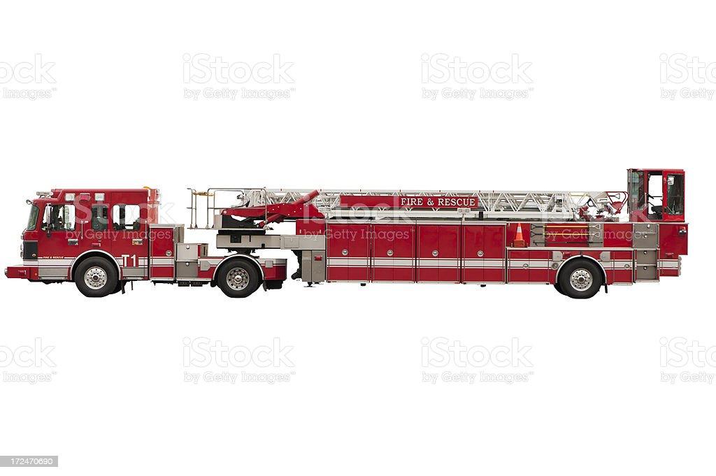 Fire engine Tiller Ladder stock photo