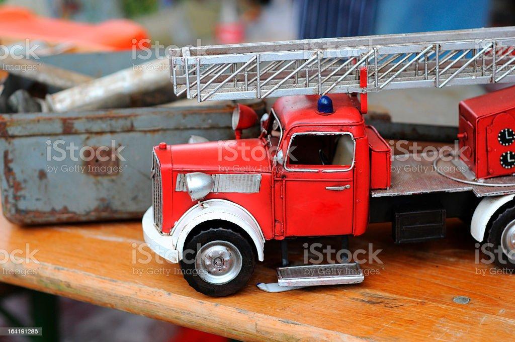 fire engine toy car on Flea Market stock photo
