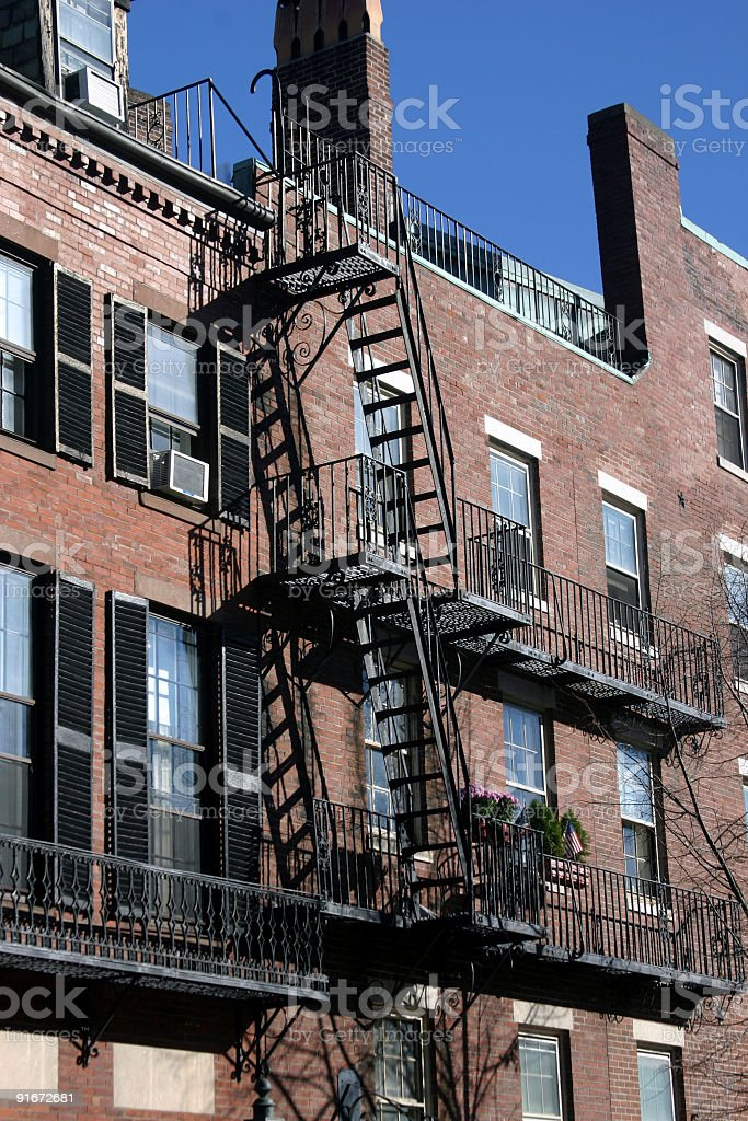 Fire Escape at Beacon Hill royalty-free stock photo