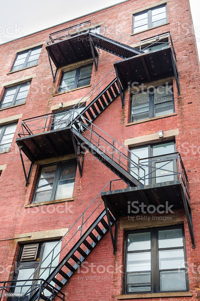 Fire Escape on a Old Buiding stock photo