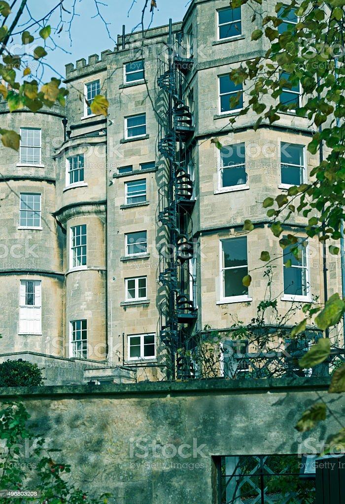 Fire escape on apartment building in Bath UK