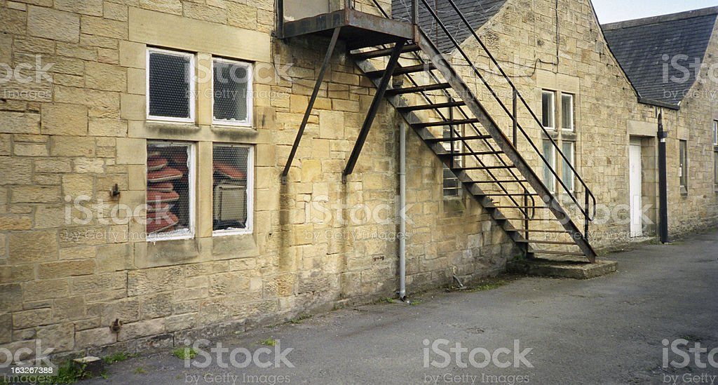 Fire escape staircase on typically English building stock photo