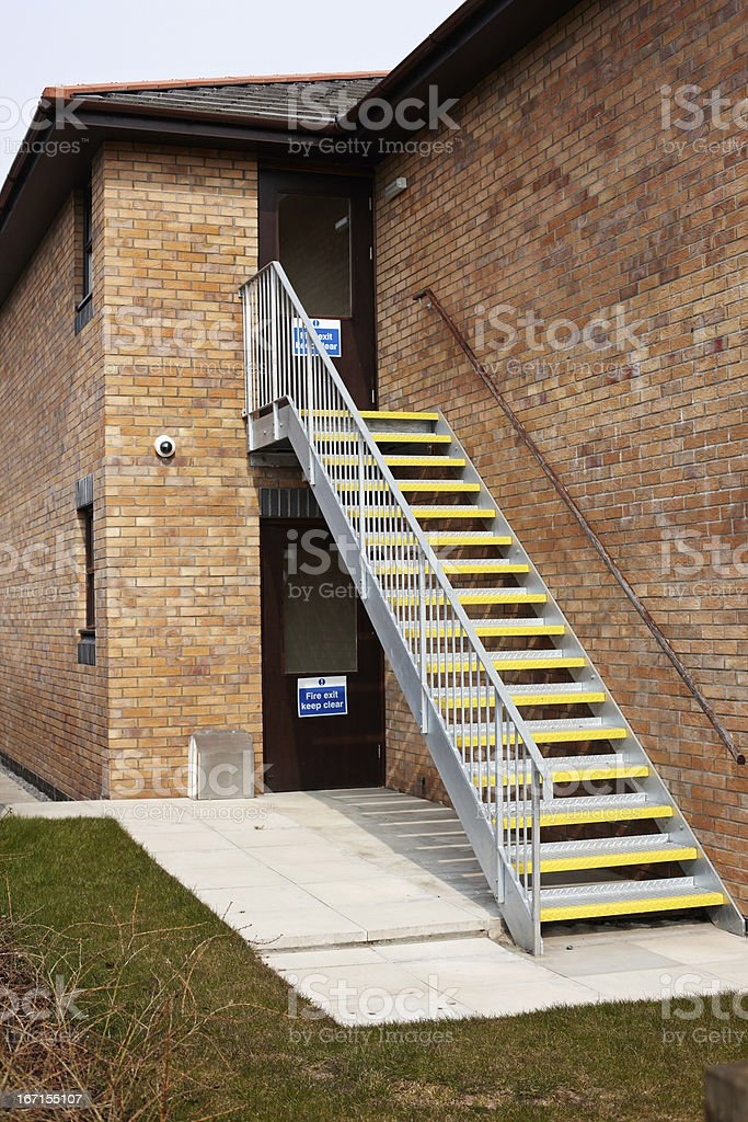 Fire escape steps outside modern UK hotel royalty-free stock photo