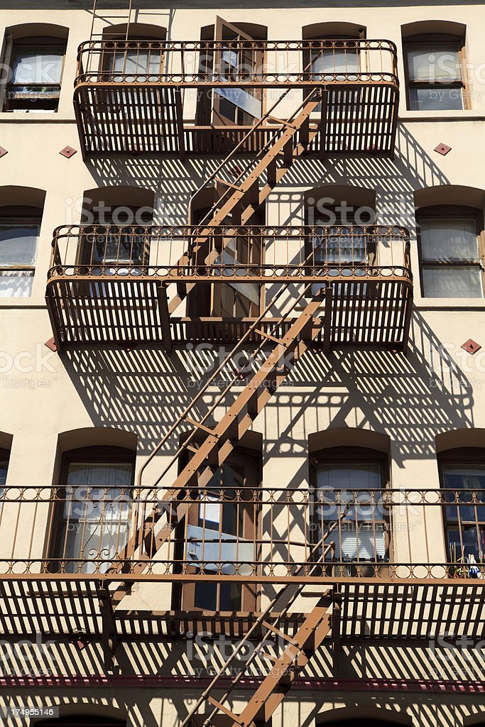 Fire Escape Wrought Iron Railing royalty-free stock photo