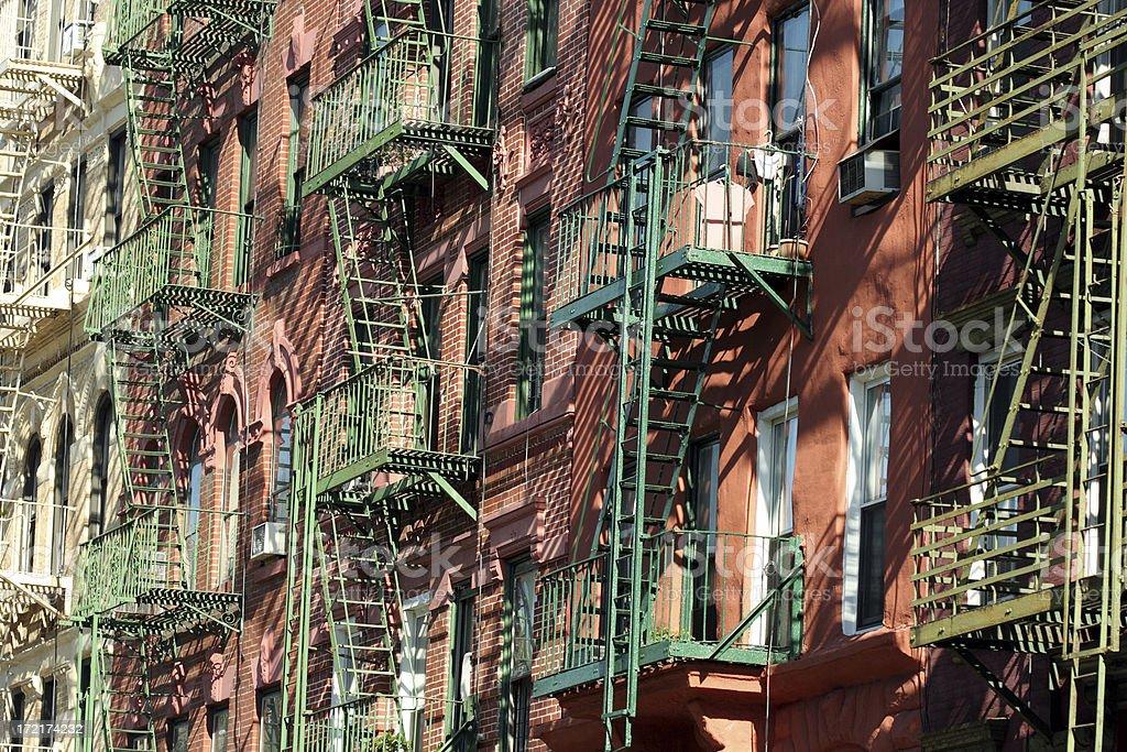 Fire escapes New York stock photo