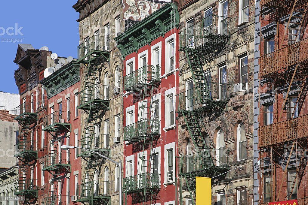 Fire Escapes On Apartment Buildings stock photo