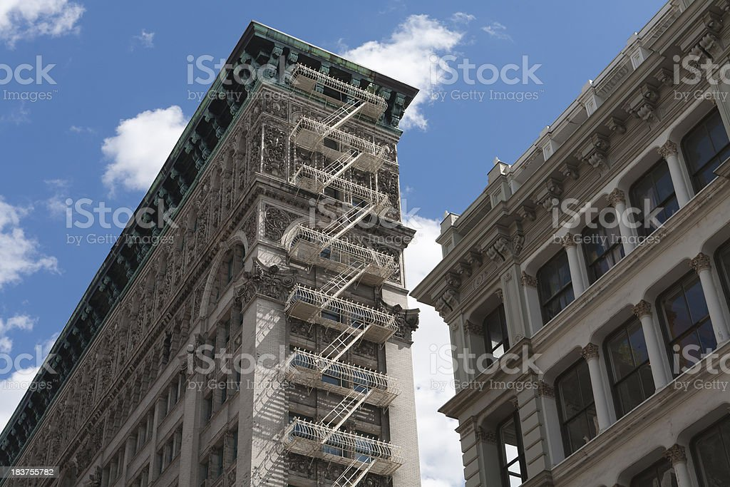 Fire escapes on apartment buildings royalty-free stock photo