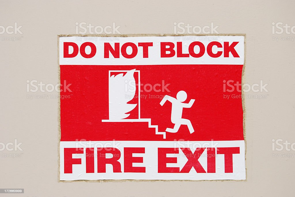 Fire Exit Sign stock photo