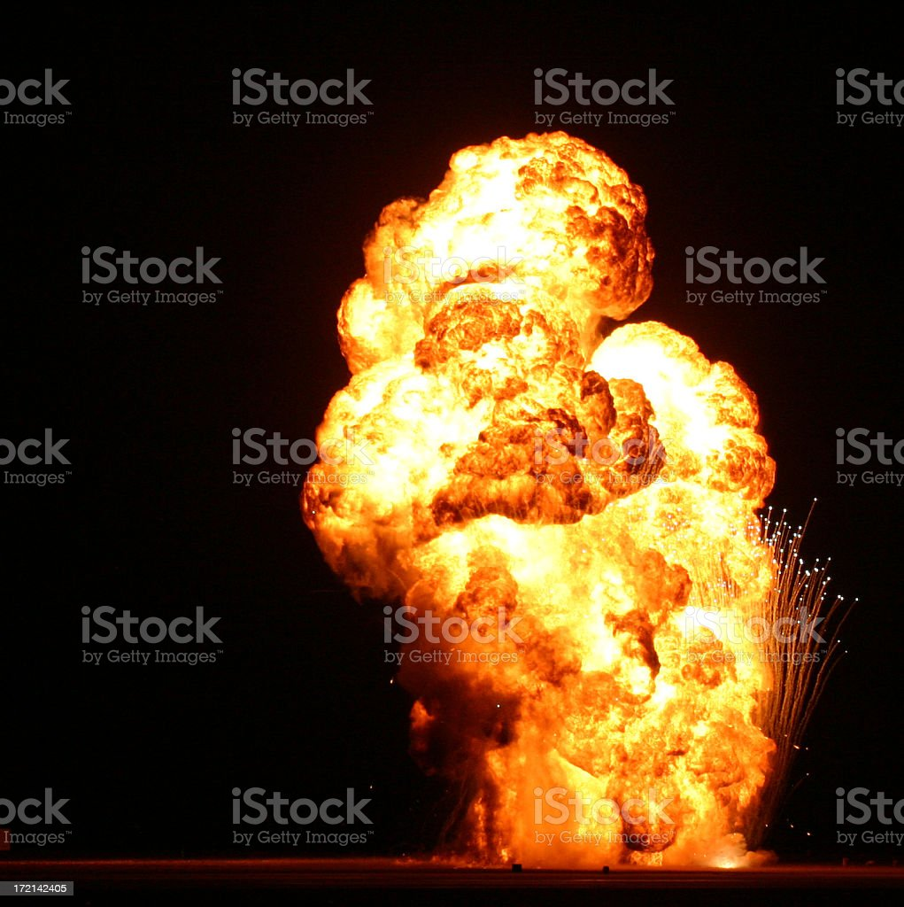 Fire explosion on a black background royalty-free stock photo